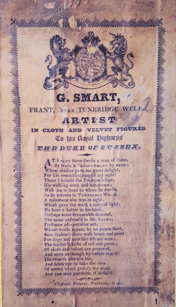 a handbill with a poem written by George Smart