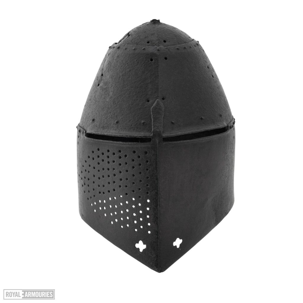 a large, black knight's helmet with a domed skull visor and eye slits