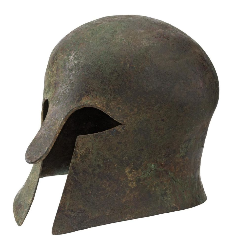 Greek helmet with a central nose guard