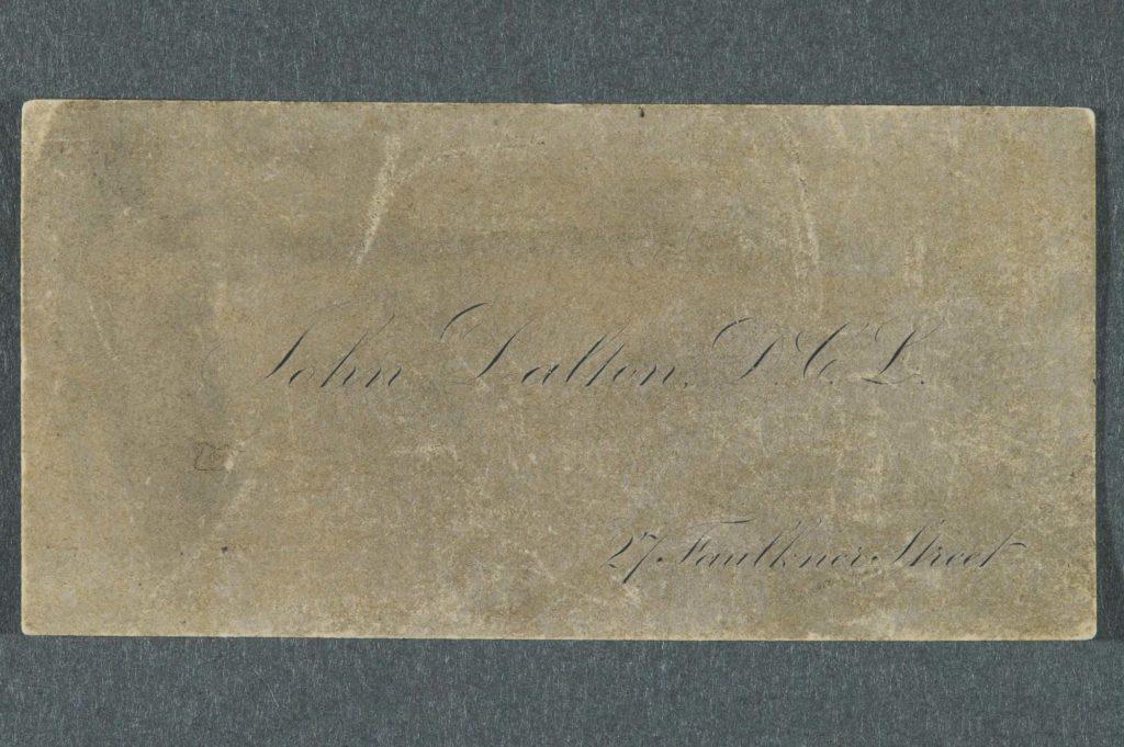 a photo of a faded visiting card for John Dalton