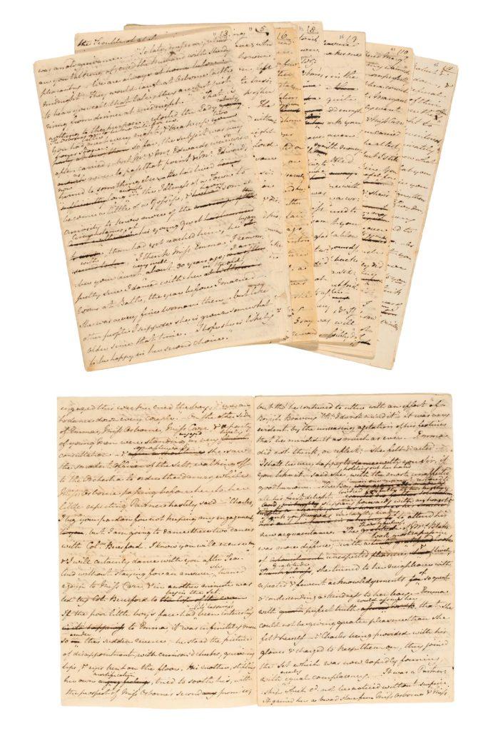 a photo o various handwritten Jane Austen manuscript pages