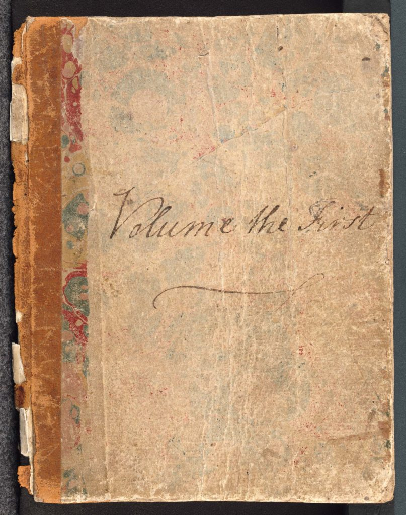 a photo of a book cover with Volume the First handwritten by Jane Austen