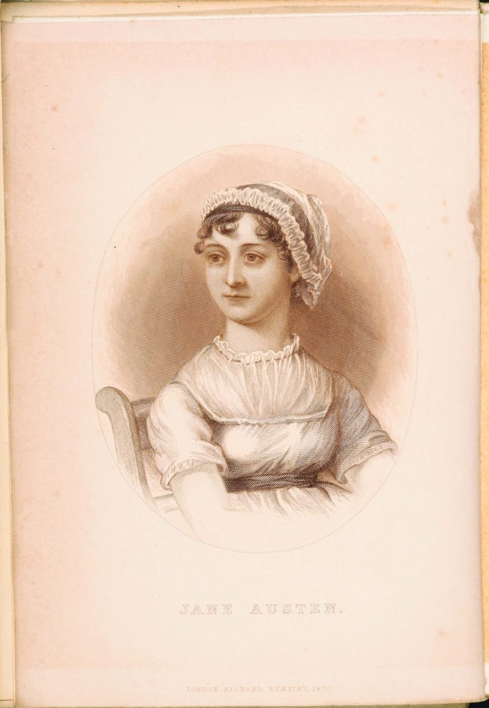 a frontispiece illustration of Jane Austen in her lace bonnet