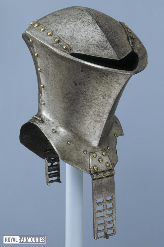 a knight's full face helmet with a single visor slit to the top