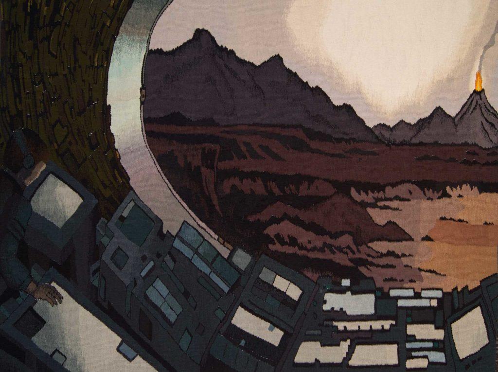 a tapestry by Kristin Sæterdal depicting a futuristic landscape