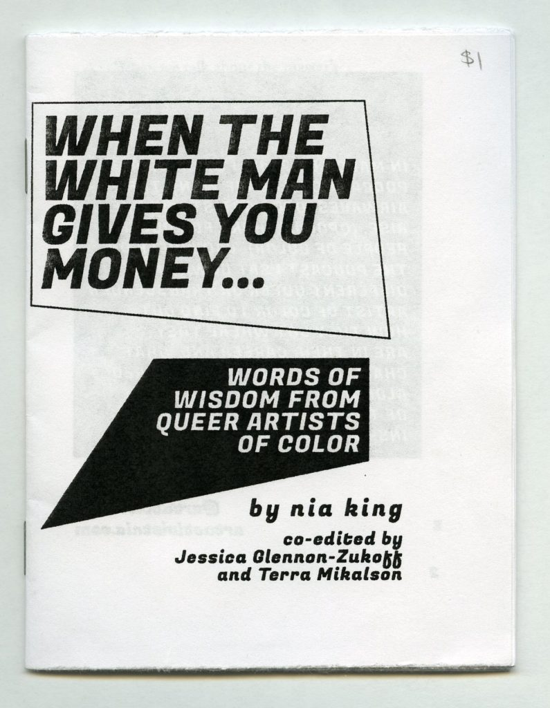 a zine cover with just words printed on it