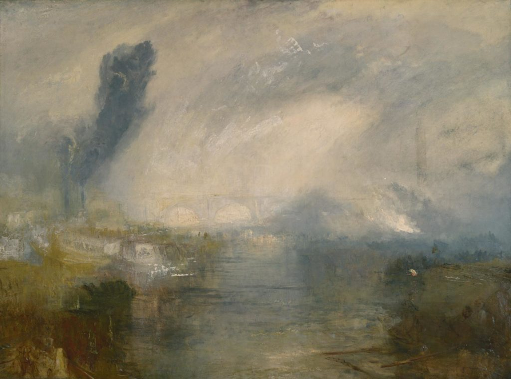 a painting by Turner of London's sky seen across the Thames