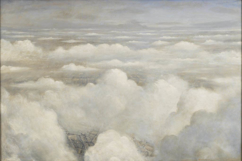 an aerial painting showing clouds giving way to glimpses of fields below