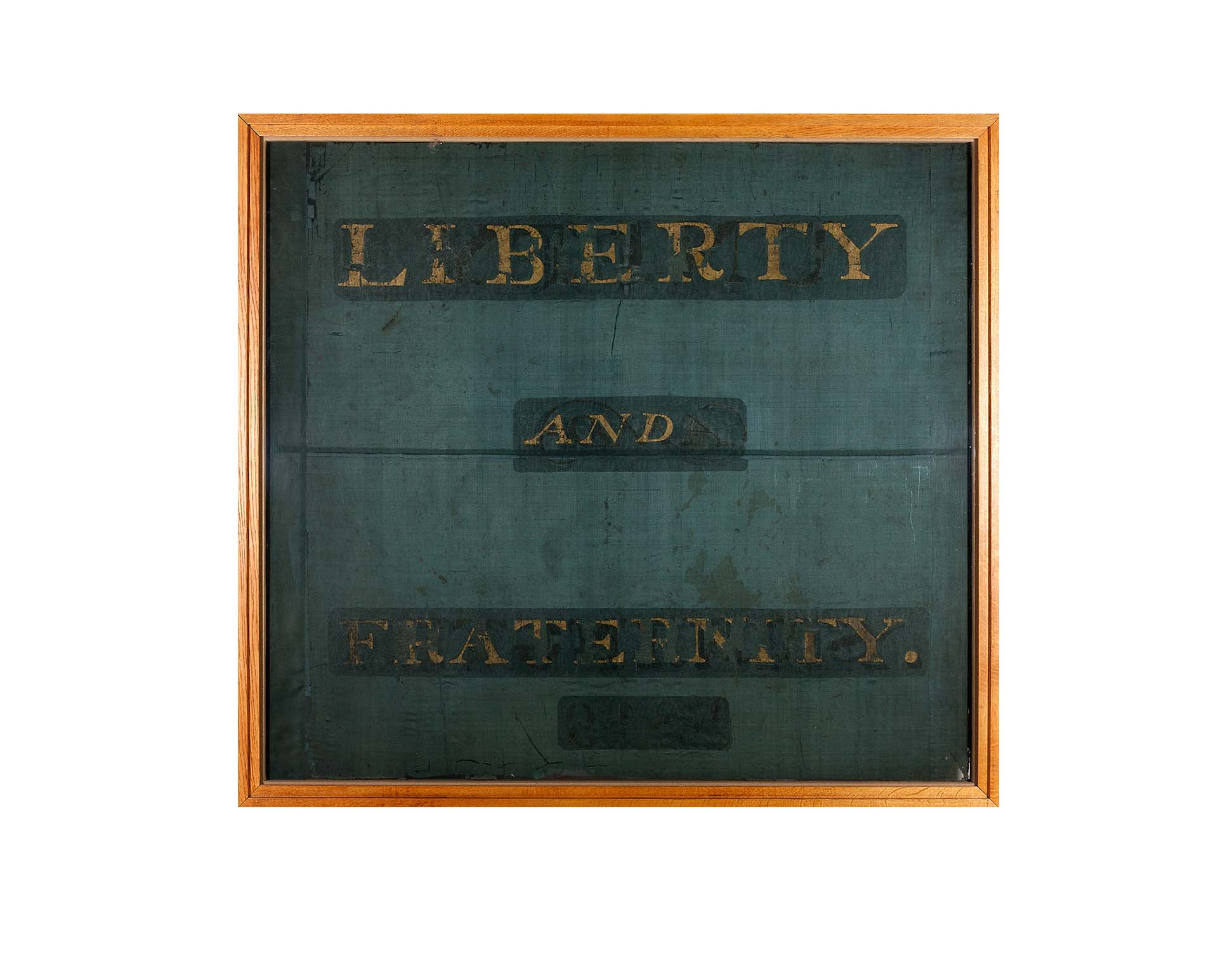 photo of a banner with Liberty and Fraternity written across it