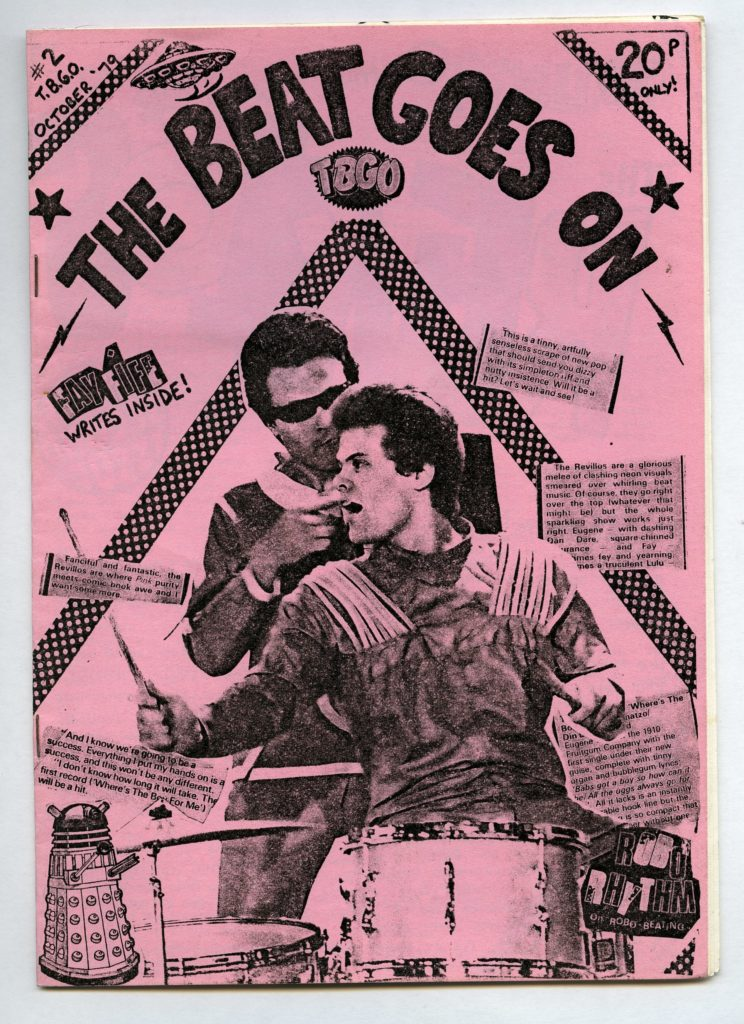 a zine cover in pink with a drummer