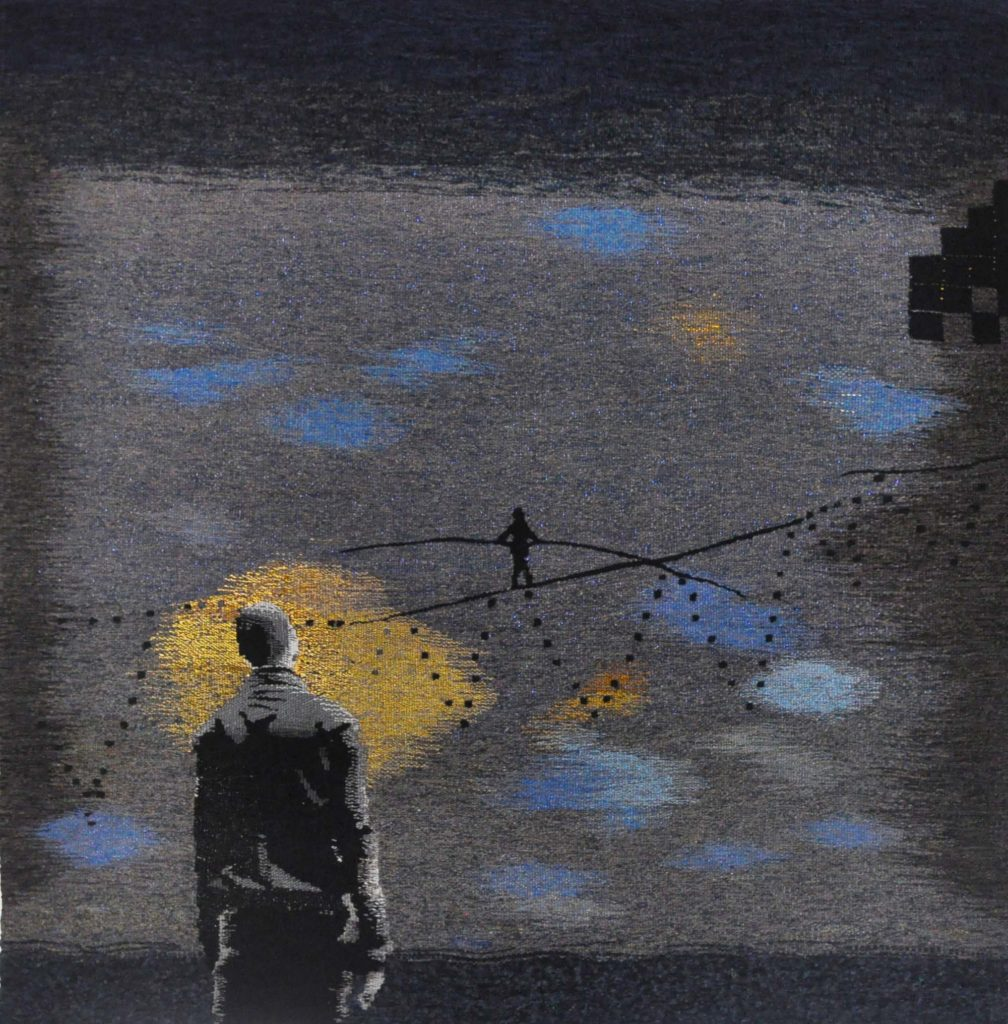 a tapestry by Rolands Krutovs of a figure watching another figure walk a tightrope in the distance