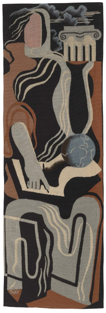 Photo of an abstract figurative tapestry in the manner of Leger of Picasso by Edward McKnight Kauffer