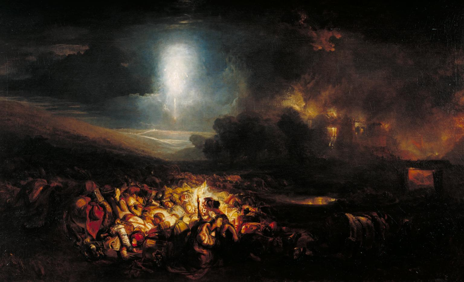 a drak painting showing wounded and dying soldiers on a battlefield lit by moonlight