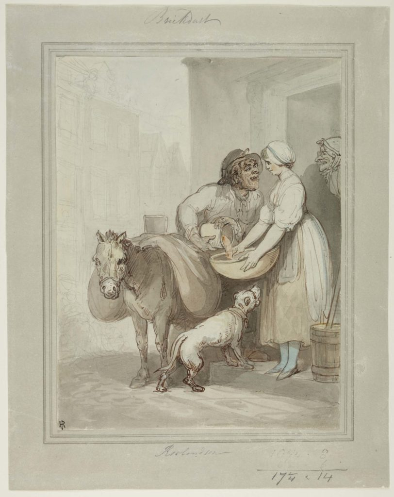 a watercolour of a man leering at a woman on a backstep as he pours brick dust into a bowl