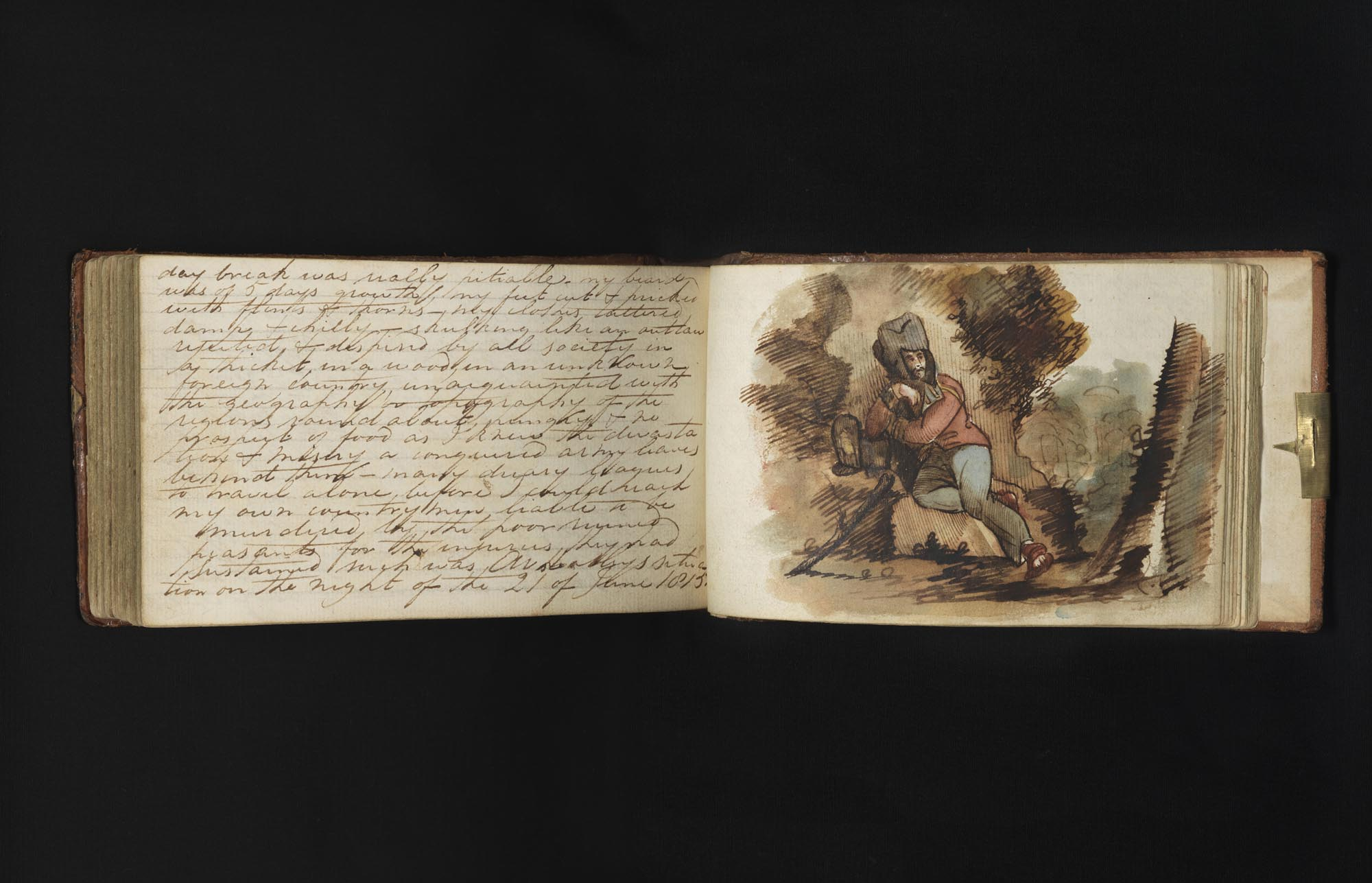 a photo of a diary with one page of handwritten text and a sketch of a soldier resting