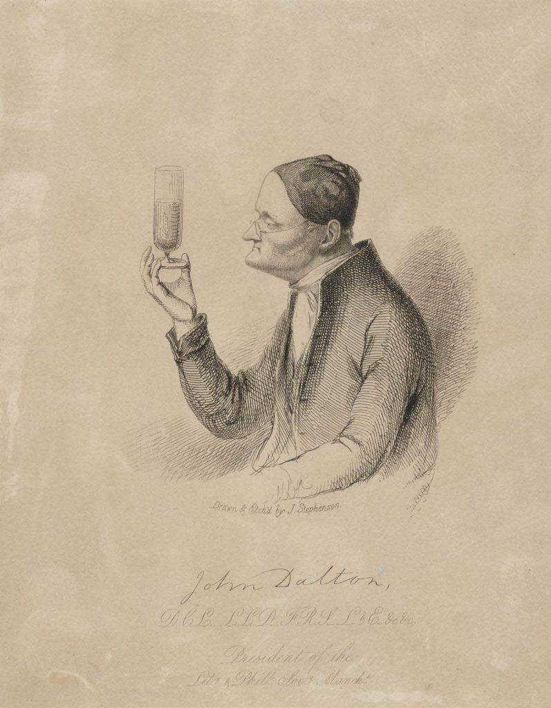an etching of John Dalton peering int a wine glass