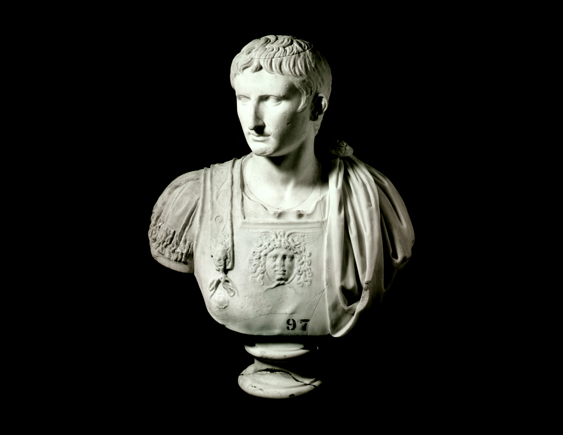 a carved bust of a Roman Emperor