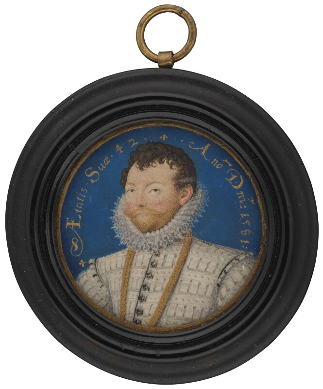 an oval miniature portrait of Sir FRances Drake with ruffled collar and beard