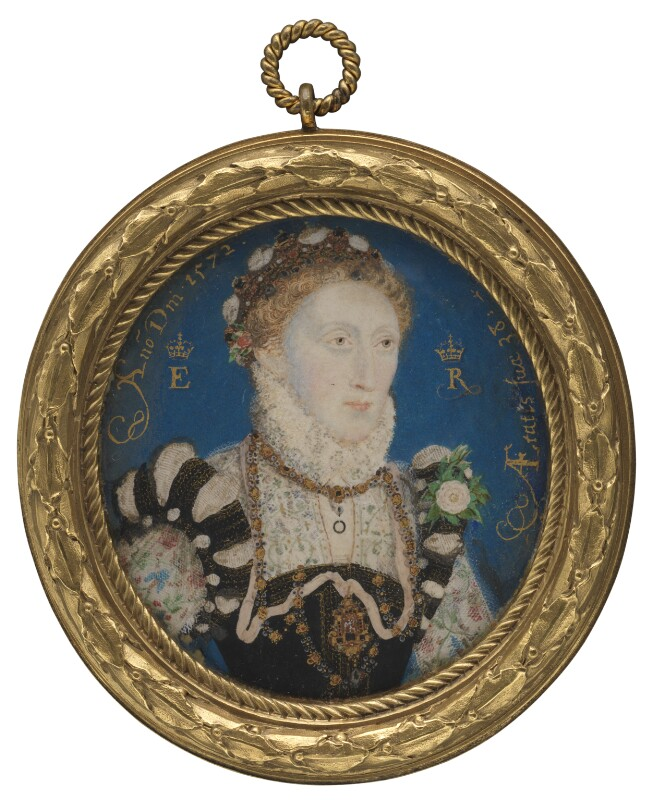 a round portrait of Elizabeth I in a gold frame