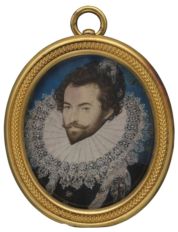 a minaiture oval painting of Sir Walter Raleigh with ruffled collar and beard