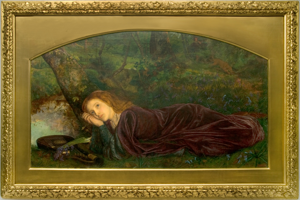 A painting of a woman laying down in a forest with a lute by her head