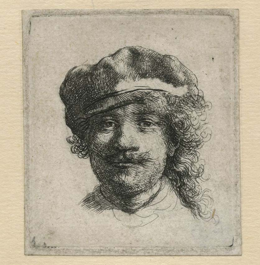 a sketch of man (Rembrandt) wearing a cap and sporting a tache