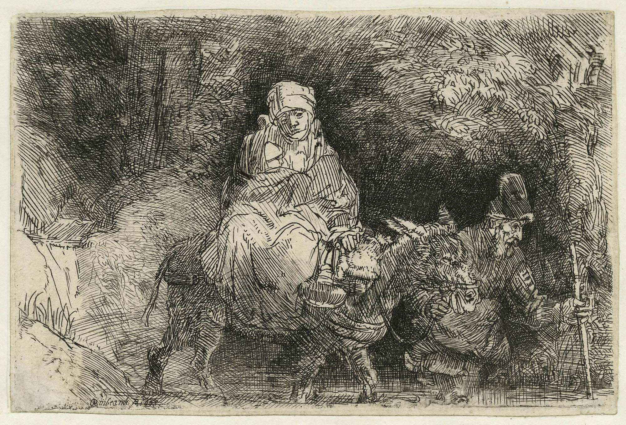 a sketch by Rembrandt of a person riding a mule
