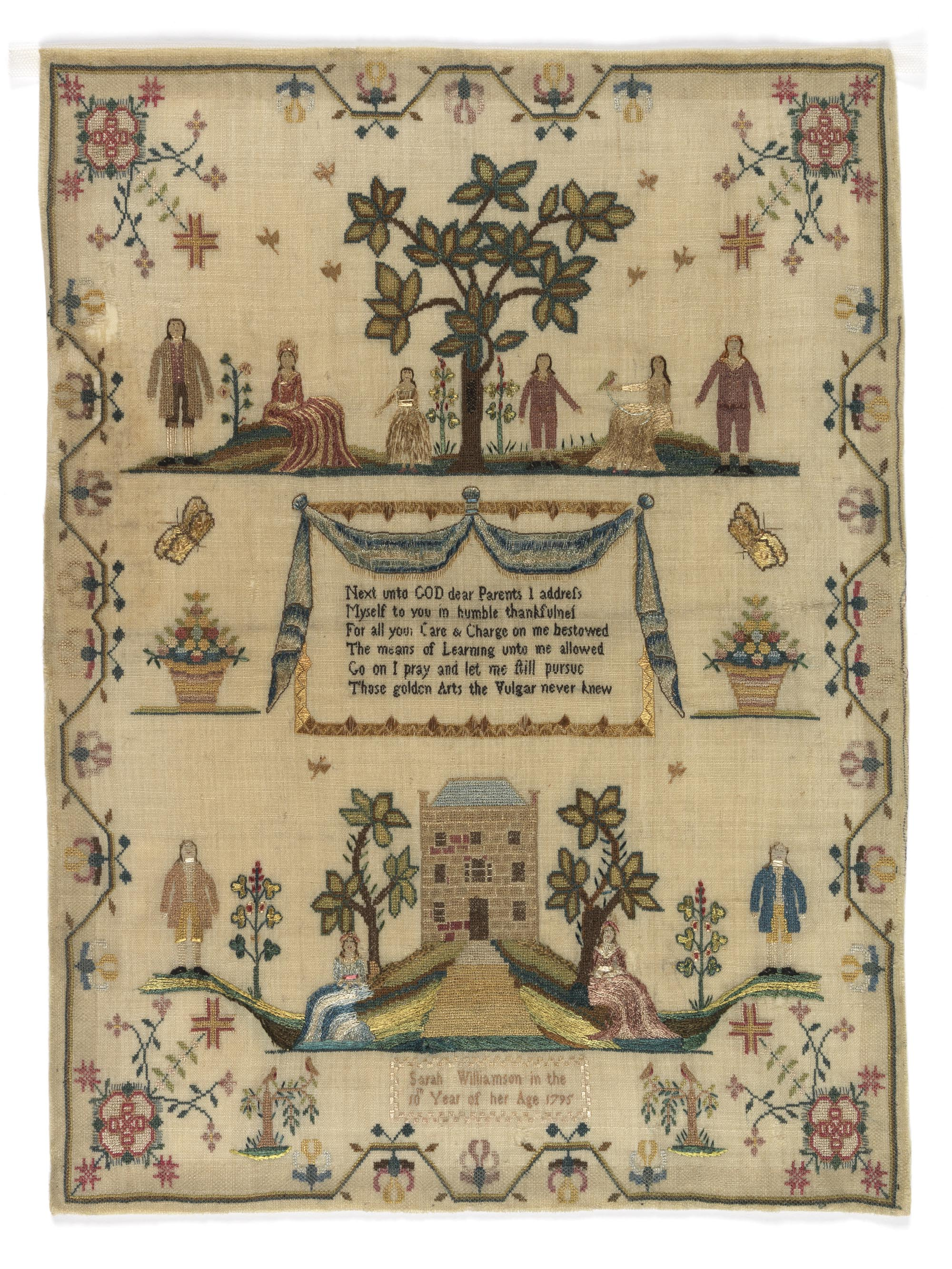 a sampler with trees, houses, people and other details