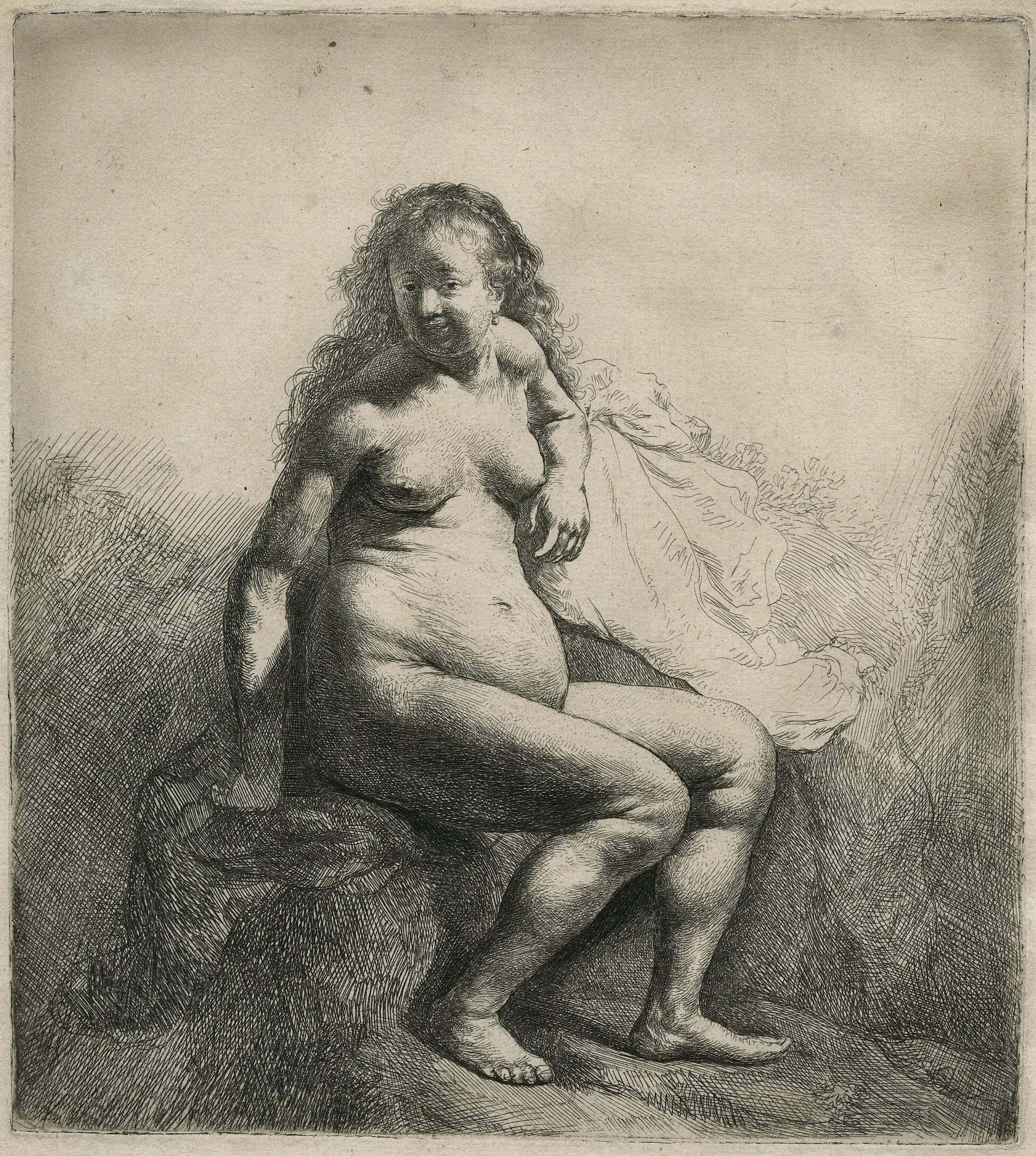an etching by Rembrandt of a naked woman seated