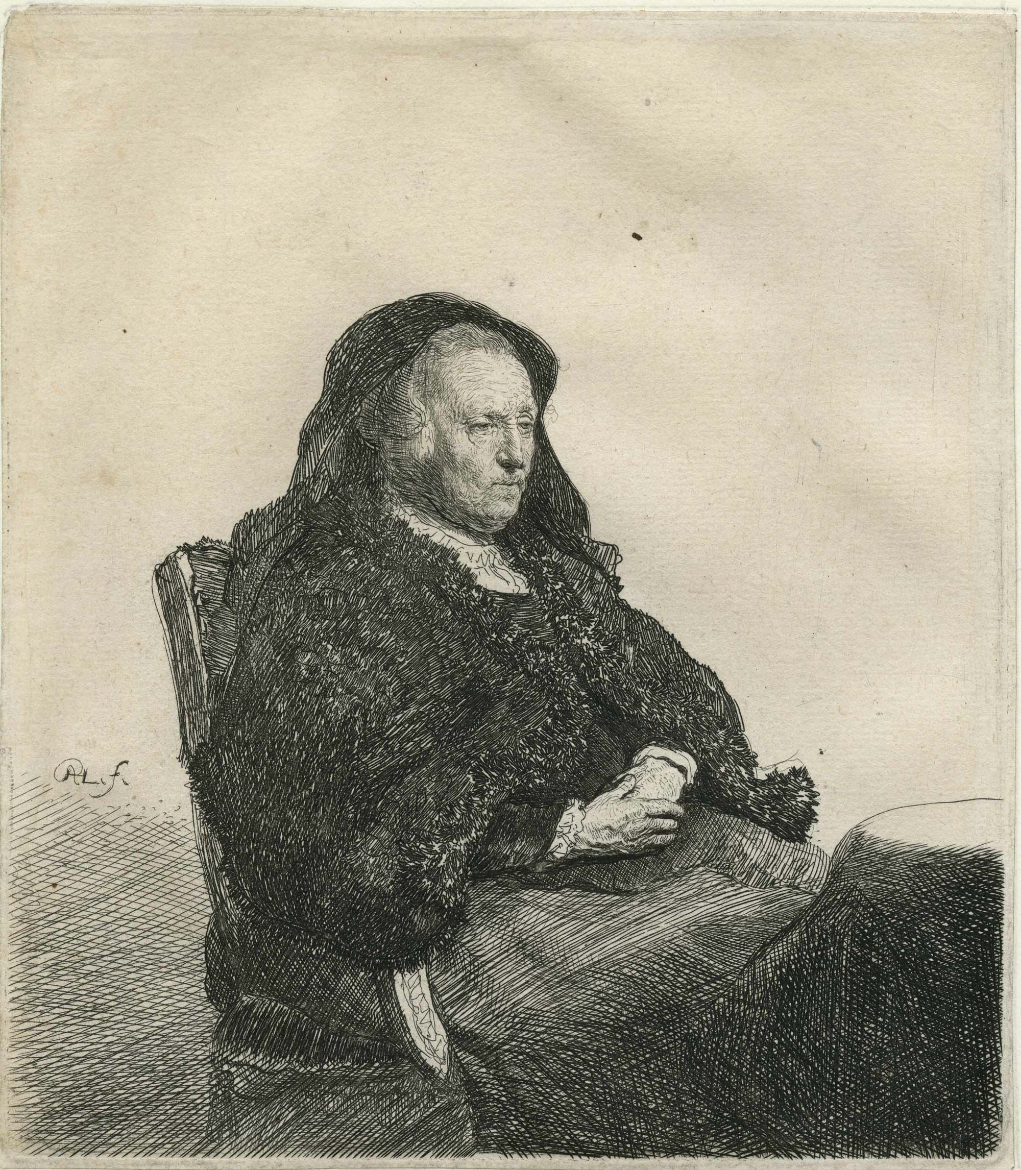 an etching by Rembrandt of a seated woman in a veil