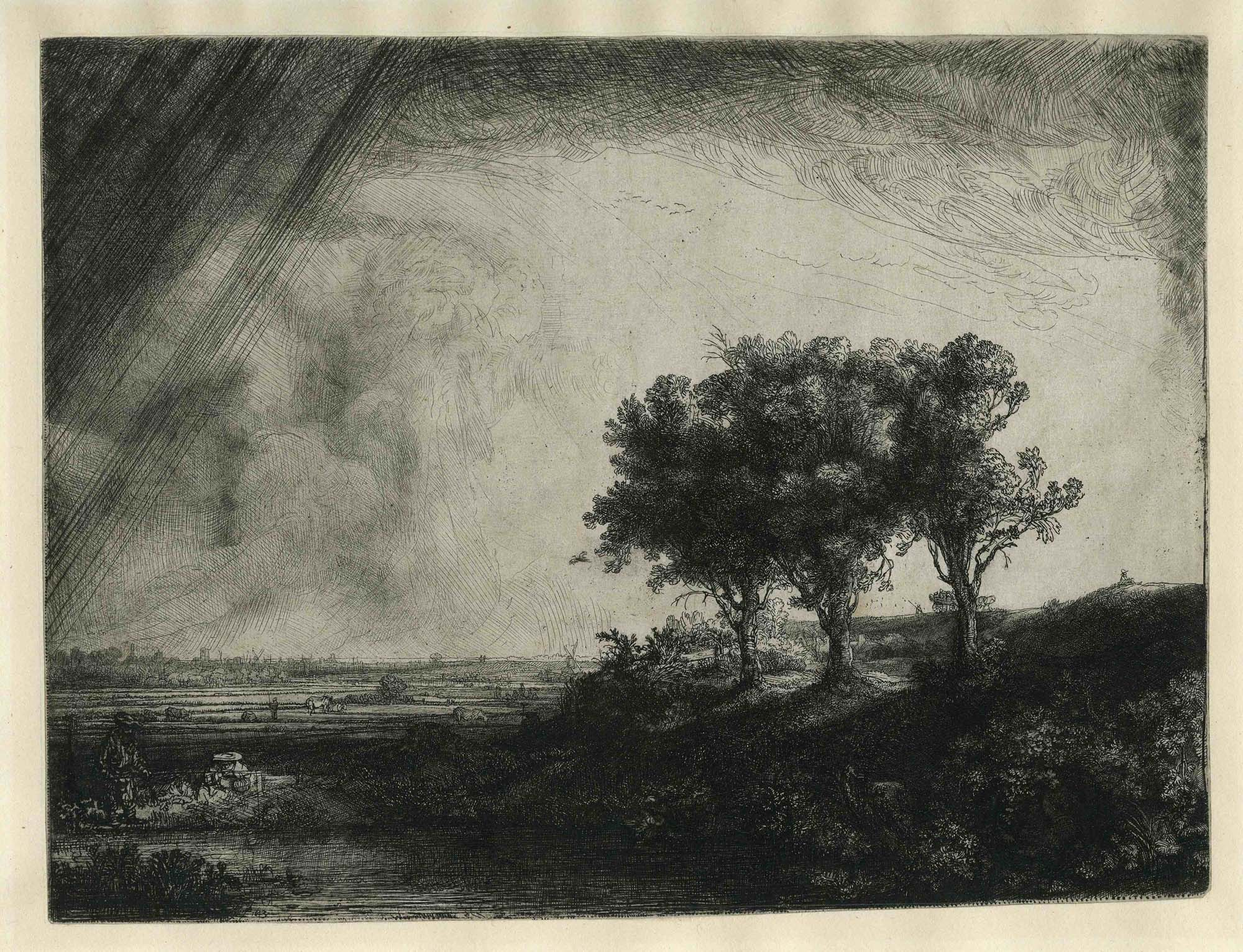 an etching by Rembrandt of trees in a landscape