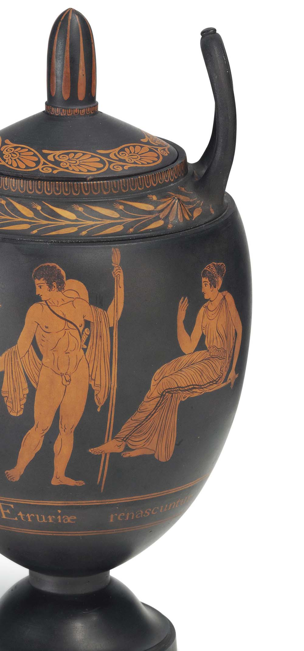 a close up a male and female greek figure shown on the side of a vase