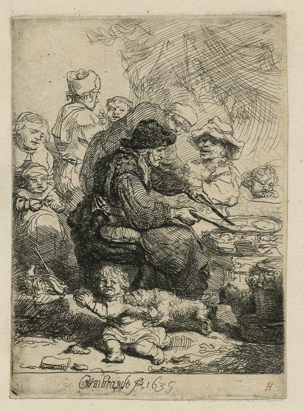 an etching by Rembrandt of a woman frying pancakes in a frying pan surrounded by hungry faces