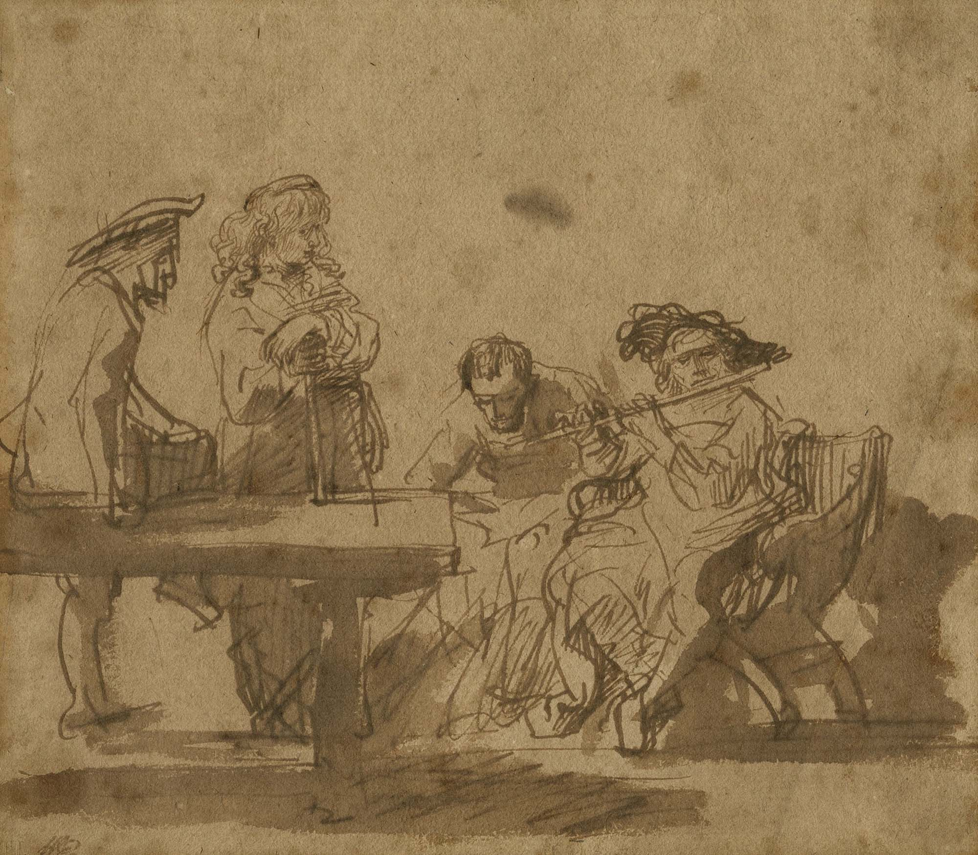 an etching by Rembrandt of a person playing a flute surrounded by other musicians leaning on a table