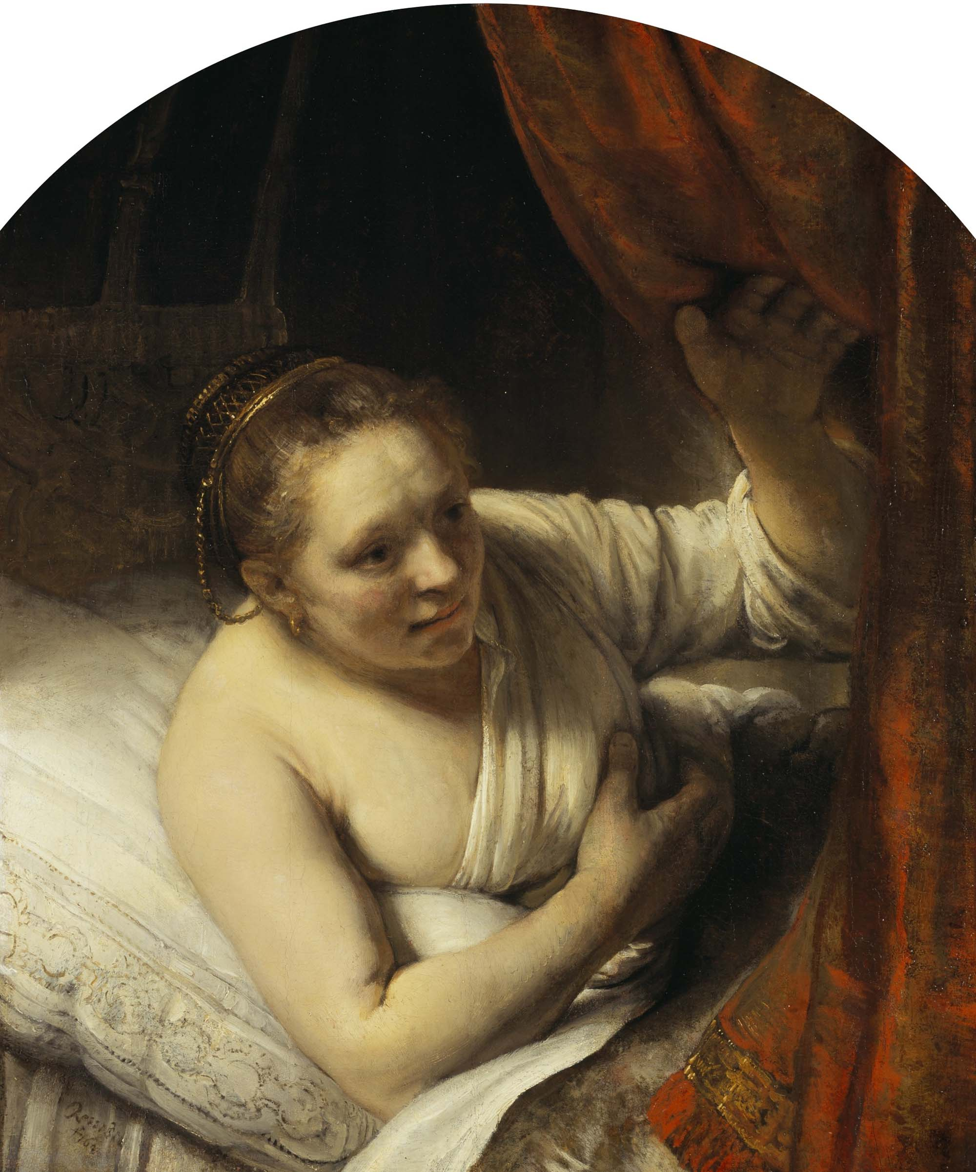 a painting by Rembrandt of a woman leaning out of bed