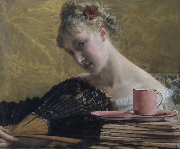 A painting of a young woman glancing over her fan. A pile of papers and a pink mug are in the foreground.