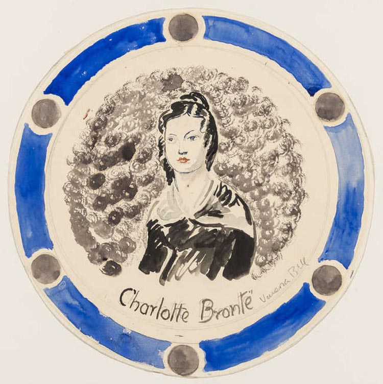 a design for a plate with an image of Charlotte Bronte at its centre