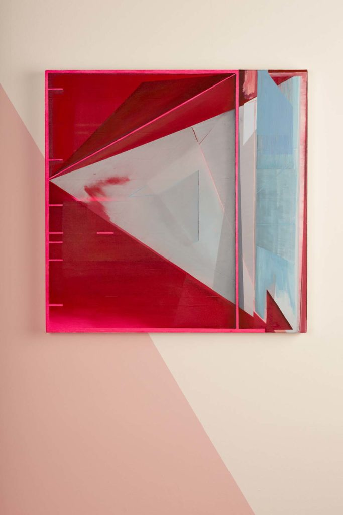 a photo of an abstract artwork of blue, white and red shapes