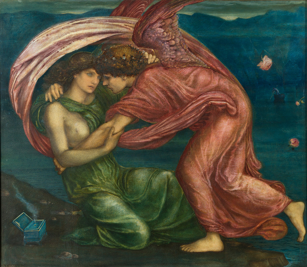 Image shows the angel Cupid holding a woman dressed in green