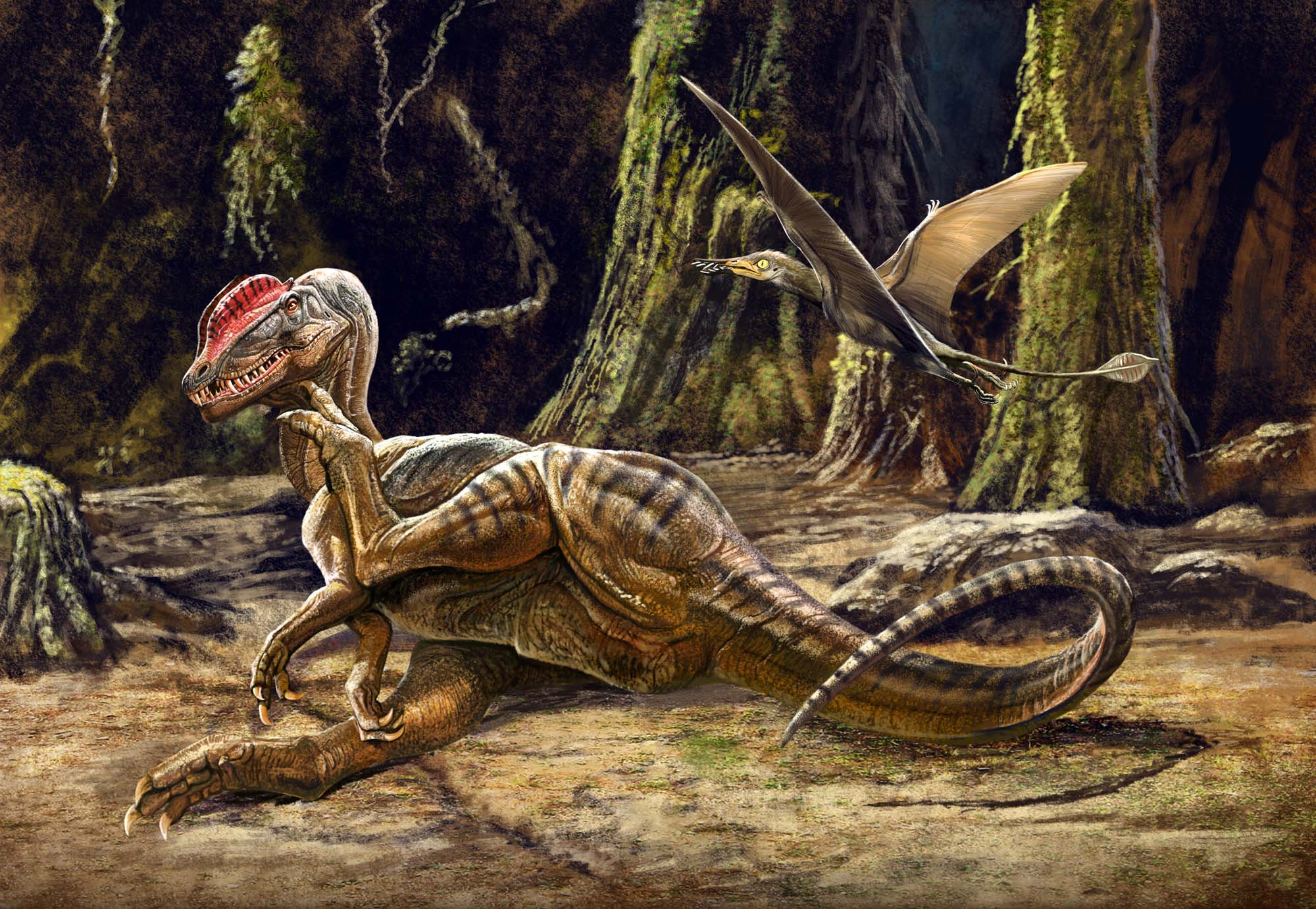 a painting of a dinosaur with a red crest on its head