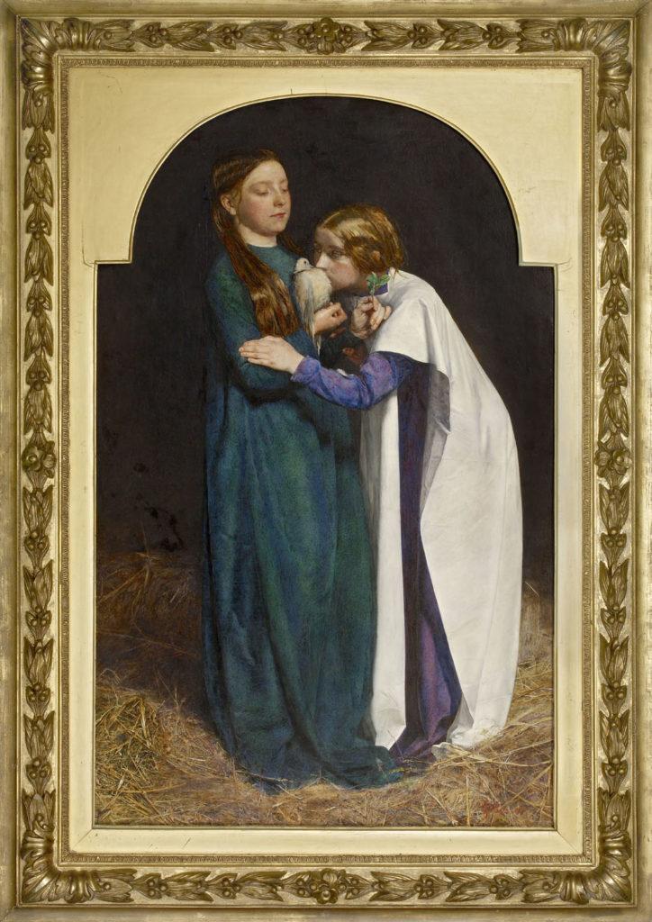 A painting of two young girls standing holding a dove