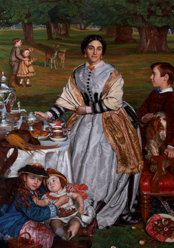 A painting of a family dining outside, children and deer can be seen in the background while a table laden with food is shown front left.