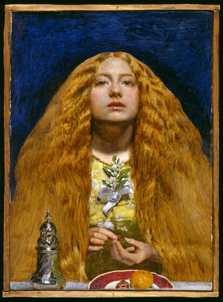 A portrait of a woman with long thick ginger hair painted in a realist style