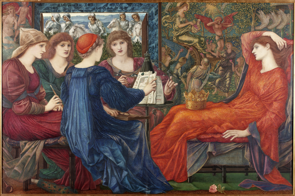 Burne-Jones's painting shows the legendary court of Venusberg (city of love). The knight seen in the centre of the window is riding off to seek forgiveness for having given himself up to a life of pleasure in the city. The Queen's women are playing music (known as the food of love). A rose, also a symbol of love, lies on the ground by the Queen. The tapestry in the background depicts Cupid riding on the chariot of Venus, goddess of love.