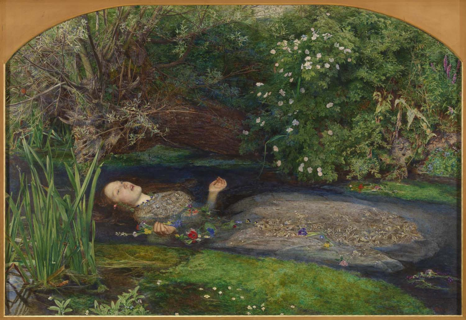 a painting of a woman lying face up in a river bed holding flowers