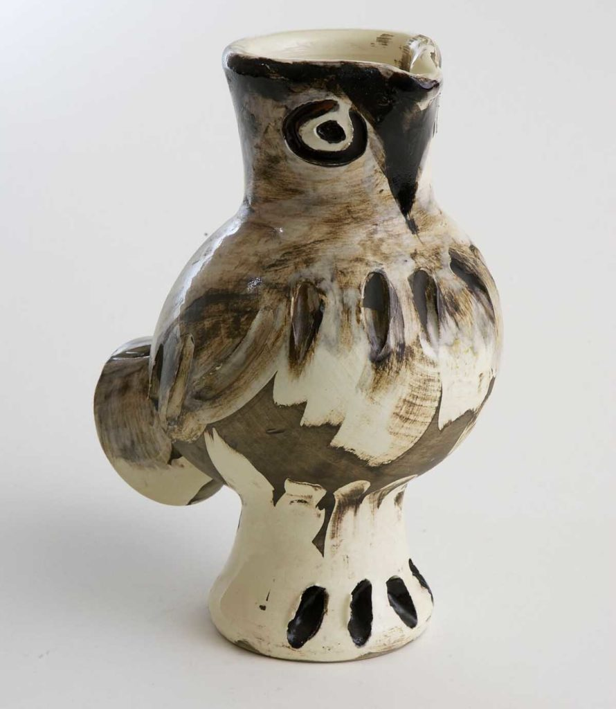 a photo of a ceramic vessel by Picasso in the shape of an owl