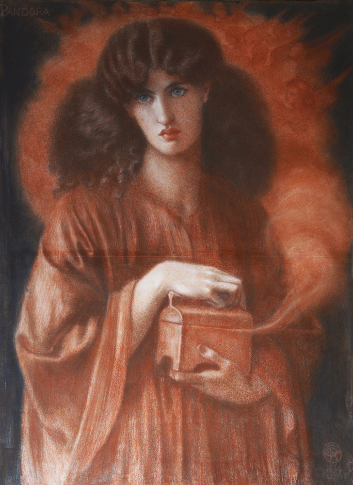 A painting of a woman on orange robes holding a small box