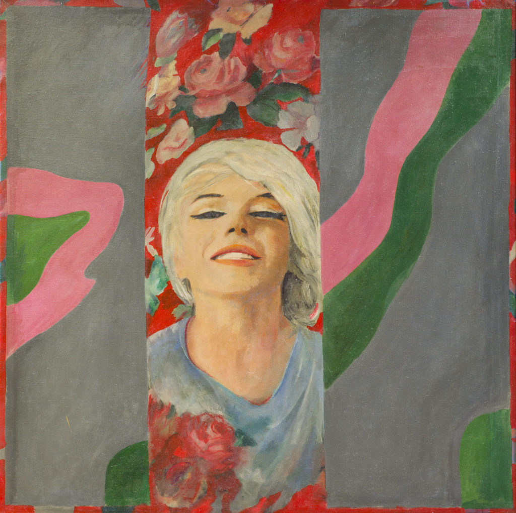 pop art painting showing woman with short blonde hair against a floral background with abstract shapes either side