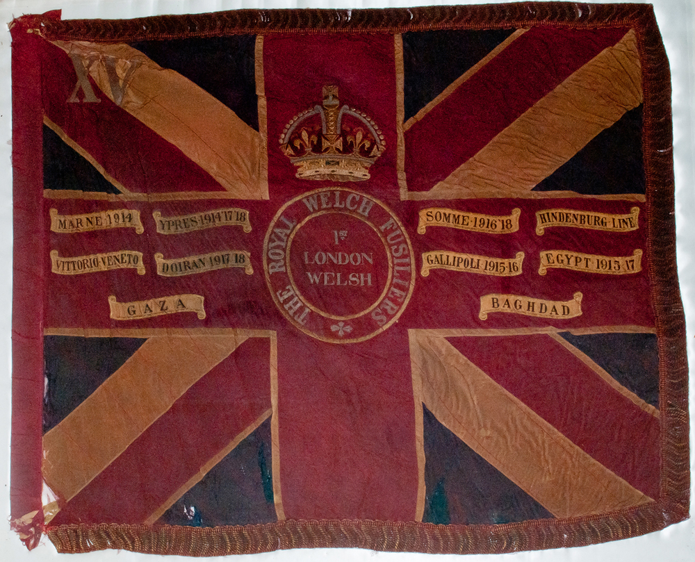 A Union Jack with the Royal Welch Fusiliers Crest