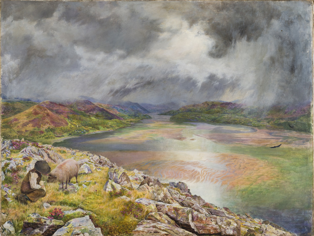 Lee's painting shows a dramatic landscape with stormy skies and grassy riverbanks